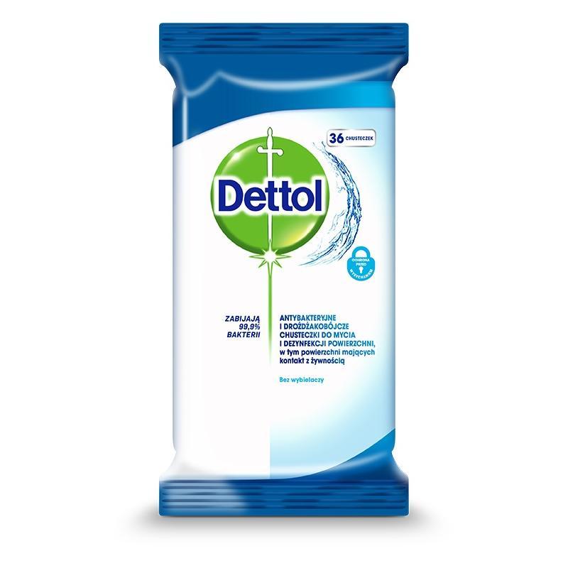 Dettol chusteczki do mycia i dezynfekcji powierzchni antybakteryjne i drożdżakobójcze 36 szt